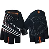Ezyoutdoor Unisex Lycra&Silica Gel Grip Half Finger Gloves Mountain Road Bicycle Racing Crossfit Sport Fitness Exercise Gloves (Black, S)
