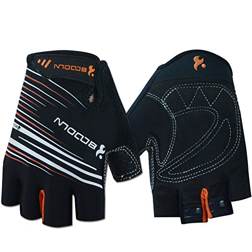 Ezyoutdoor Unisex Lycra&Silica Gel Grip Half Finger Gloves Mountain Road Bicycle Racing Crossfit Sport Fitness Exercise Gloves (Black, L)