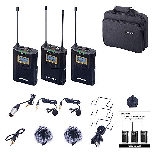 Wireless Microphone Comica CVM-100 Plus UHF 48-Channel 1-Trigger-2 Lavalier Microphone System Compatible for Canon Nikon Sony Panasonic DSLR Camera,XLR Camcorder & Smartphone (2TX+1RX) (Switch Muting Mic)