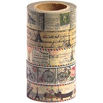 Vintage Washi Tape Set (Japanese Masking Tape) by MIKOKA, 0.6 Inches Wide, 32.8 Feet Long, 5 Rolls - Antique Bright