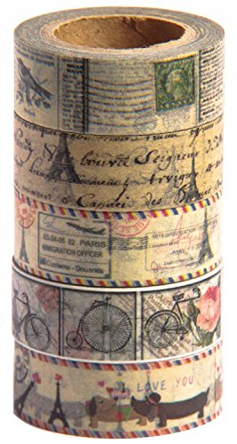 Antique Vintage Washi Tape Set (Japanese Masking Tape) by MIKOKA, 0.6 Inches Wide, 32.8 Feet Long, 5 Rolls - Antique Bright