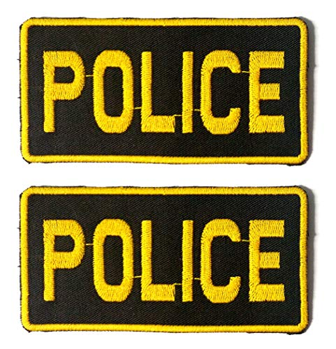 Police - Novelty Duty - Iron-on 2x4 Embroidered Patch Two Pack Combo, Gold Thread