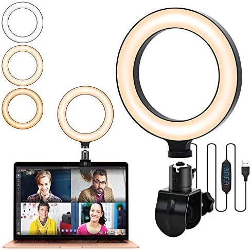 Video Conference Lighting with Monitor Clip On, 6.3'' Ring Light for Laptop, Selfie Ring Light with 3 Light Modes & 10 Level Dimmable for Laptop/PC Monitor/Desk/Bed, 360 Degrees Rotatable