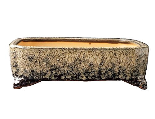 YUKIMONO Namako Glazed Rectangle Bonsai Pot, 7.5-Inch