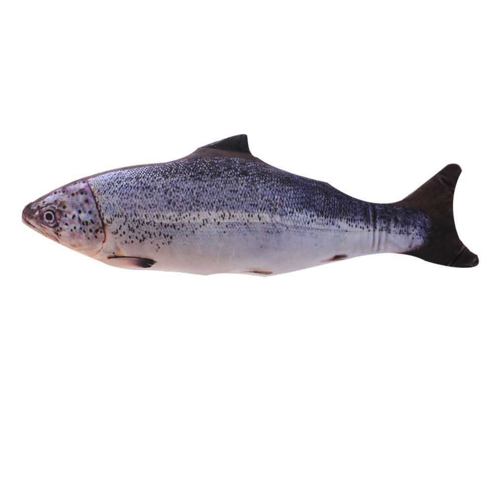KTCLCATF Catnip Toys Simulation Plush salmon Fish Shape Doll Interactive Pets Pillow Chew Bite Supplies for Cat/Kitty/Kitten Fish Flop Cat Toy Catnip Crinkle Toys (7in)