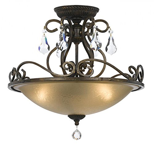 - Crystorama 5010-EB-CL-MWP Crystal Accents Three Light Ceiling Mount from Ashton collection in Bronze/Darkfinish,