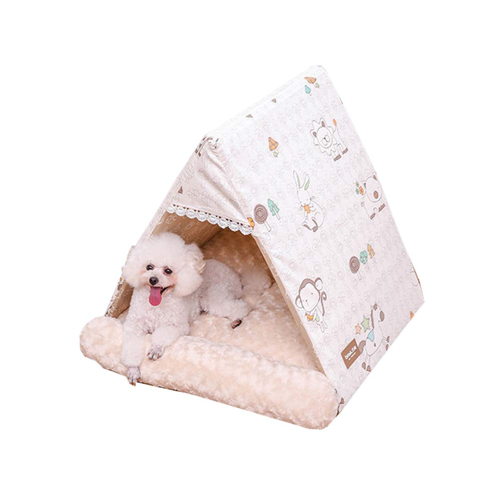 Beige LTriangle Lace Pet Puppy Nest Cat Litter Dog House Warm Padded Kennel Mat Small Dogs Pets Lying Supplies (color   Red, Size   L)