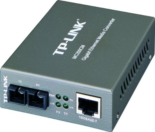 TP-Link Gigabit SFP to RJ45 Fiber Media Converter, Fiber to Ethernet Converter 10/100/1000Mbps RJ45 Port to 1000Base-SX Multi-Mode Fiber (MC200CM)
