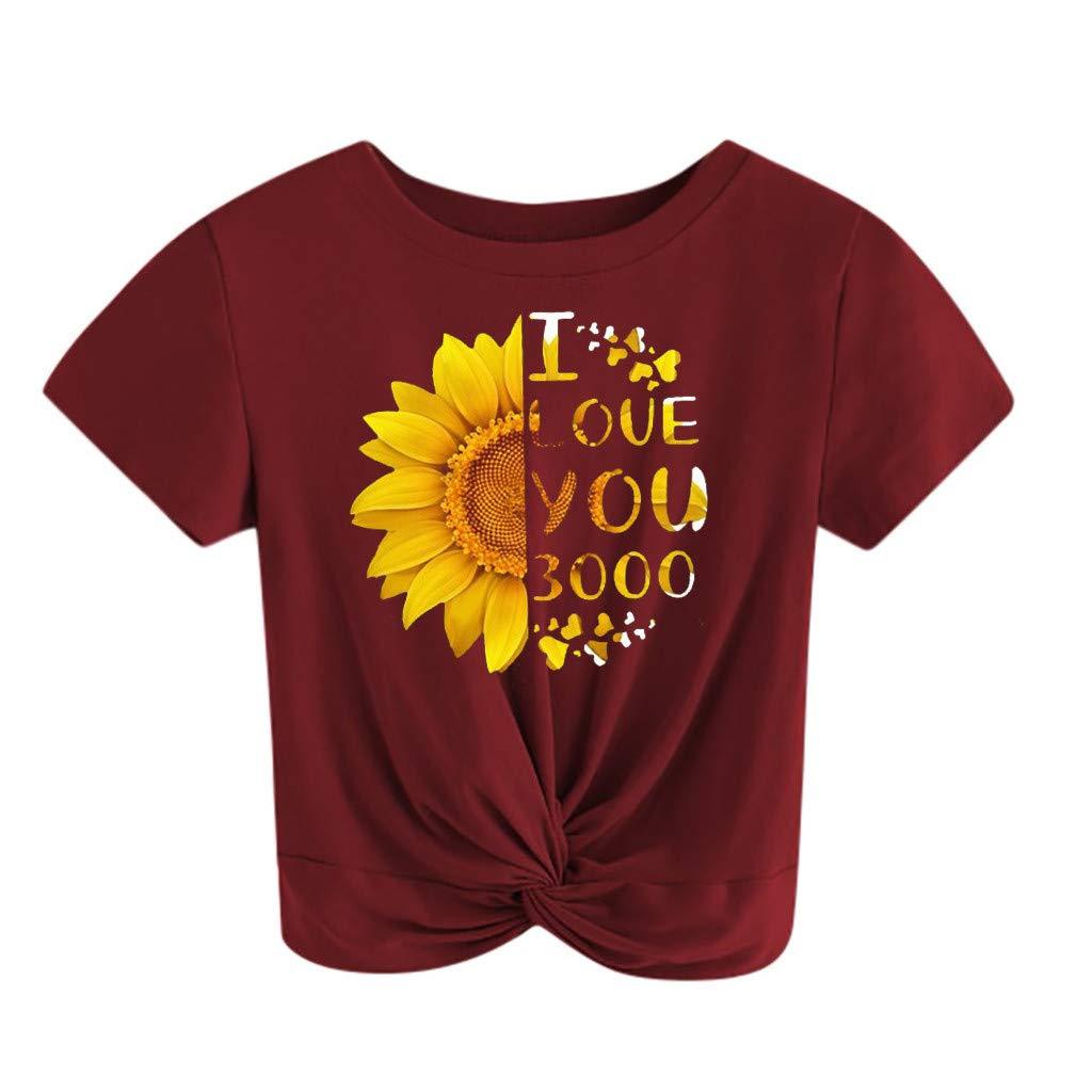 chengzhijianzhu Women Tops T-Shirt Love You 3000 Printed Short Sleeve Summer Crop Blouse Knot Twist Front Tee
