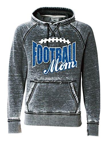 Football Mom - Charcoal Burnout Hoody - Glitter Football Mom (X-Large, Glitter Red) - Burnout Football