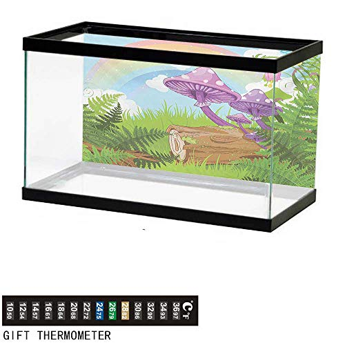 Rainbow Timber - Aquarium Background,Mushroom,Fantastic Scenery with Wood Timber Grass and Rainbow Fungus Herbs Leaves Weed Art,Multicolor Fish Tank Backdrop 36
