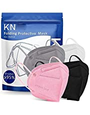 Bontatoo Pack of 100Pieces_KN95 in Bag Packed_Adult_Masks_Mixed, 5-Layers Non-Woven Breathable Face ᴍᴀsᴋ with Elastic Earloops for Outdoor Sport Travel