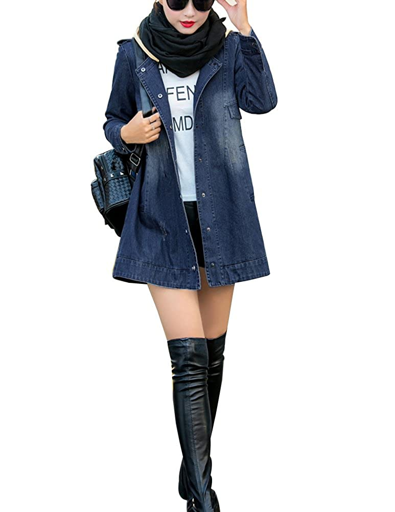 Femme Long Denim Blouson Grand Taille Destroyed Troué Jacket Jeans Veste Coat Windbreaker Manteau