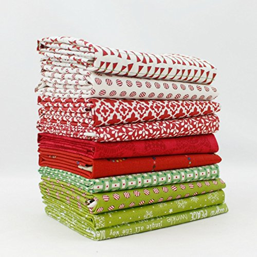 Christmas Fat Quarter Bundle - Christmas Fat Quarter Bundle (10 pcs) - Mixed Designers - Southern Fabric 18 x 21 inches (45.72cm x 53.34cm) fabric cuts DIY quilt fabric