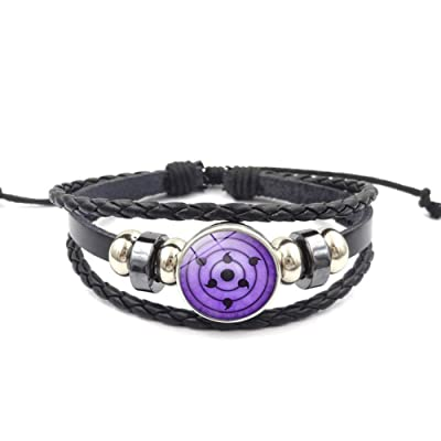 WerNerk Naruto Bracelet, Sasuke Itachi Kakashi Wristband Braided Bracelet Leather Bracelet for Kids Teens Adults Anime Fans( H25): Toys & Games