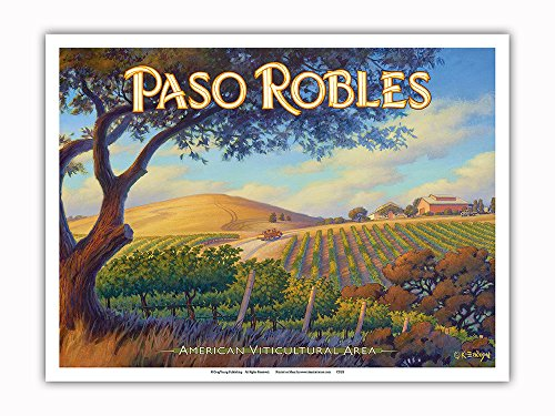 Pacifica Island Art - Paso Robles Wineries - San Luis Obispo - Central Coast AVA Vineyards - California Wine Country Art by Kerne Erickson - Master Art Print - 9in x 12in