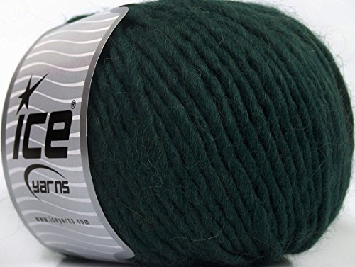 (1) 100 Gram Inca Alpaca Bulky - Darkest Green, Virgin Wool, Alpaca, Acrylic Yarn, 109 Yards (Inca Alpaca Yarn)