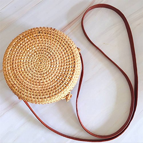 Handwoven Round Rattan Cross-Body Shoulder Bag Handmade Straw Woven Beach Bag with Snap Clasp,Suitable for Women Gift
