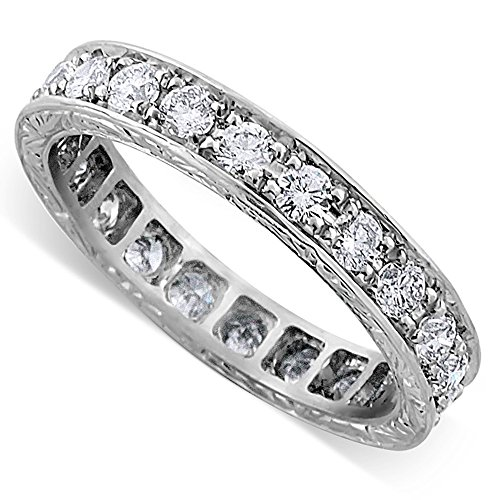 Platinum Art. Deco Style 1Ct Diamond Engraved Wedding Band 3.4mm Wide (Diamond Deco Style Ring)