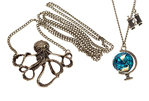 Amazing Value Jewelry Gift Set of Long Chain Vintage Sea Creature Marine Octopus And Globe Tellurian Binoculars Pendants Necklaces By VAGA®