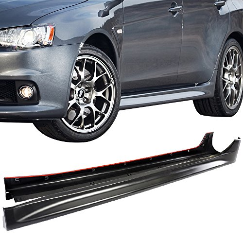 Side Skirts Evo 4 (Side Skirts Fits 2008-2015 Mitsubishi Lancer EVO | Side Skirts Extension Pair 2PC Unpainted Black EVO Style by IKON MOTORSPORTS | 2009 2010 2011 2012 2013 2014)