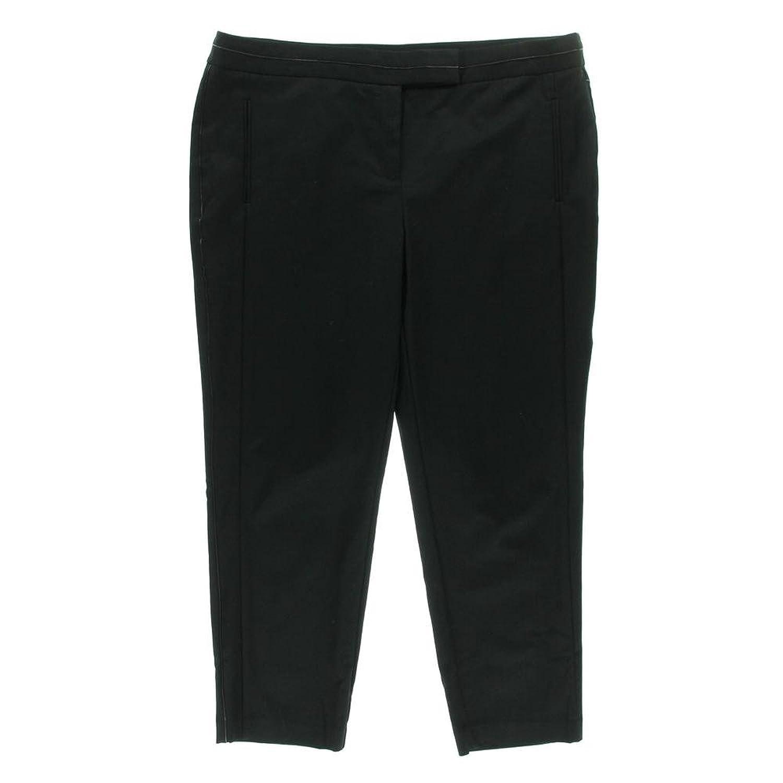 Women's Slim Leg Cotton Blend Faux Leather Trim Dress Pants, Plus Size 18W