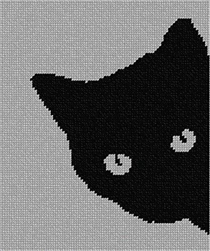 pepita Cat Around Corner Needlepoint Kit (Stitch Cross Cat Black)