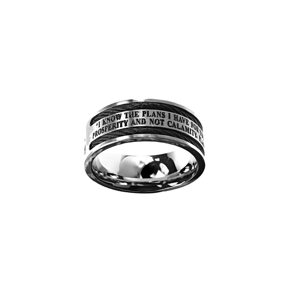 """Christian Mens Stainless Steel 10mm Abstinence Black Cable """"God Grant Me the Serenity to Accept What I Cannot Change, Courage to Change What I Can, Wisdom to Know the Difference"""" Cable Black Enamel Comfort Fit Chastity Ring for Boys   Guys Purity"""