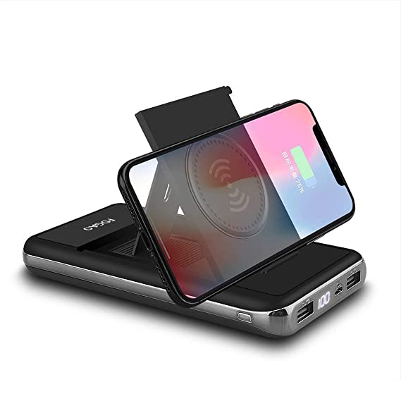 aba009d9fc43a6 Wireless Charger Power Bank 20000mAh Qi Wireless Charging Portable Battery  with LED Digital Display and Foldable