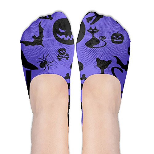 Low Cut Sand Socks Pumpkin Spider Cat Skull Colored Fun Compression No Show Socks Women's Heel Grip No Show For - Colored Cat Sand