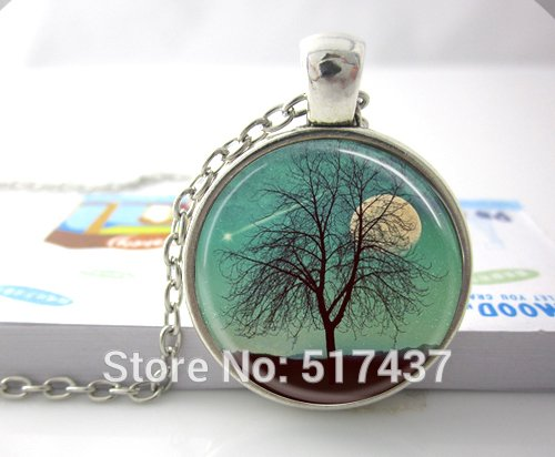 Pretty Lee Glass Dome Necklace Harvest Moon Necklace Tree Jewelry Full Moon Shooting Star Landscape Art Pendant Necklace