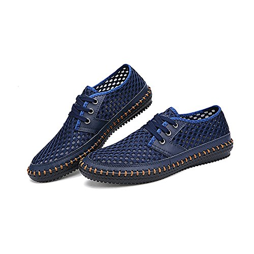 Lightweight Blue Navy 5 Lace Up US11 Mens SN16605 Breathable Summer Shoes Mesh rismart Sport 4wpRq5vx