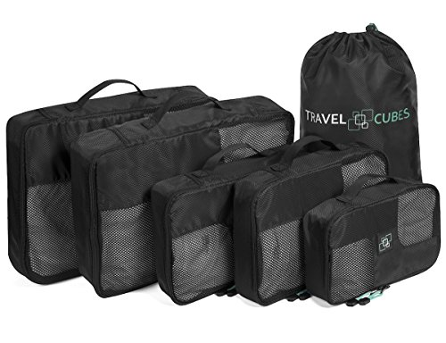 Travel Cubes - 5 Piece Packing Cubes Set in Black with Laundry Bag