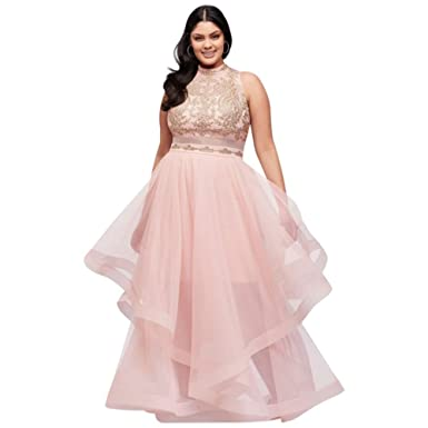 Horsehair Skirt Two-Piece Illusion Plus-Size Prom Dress Style ...