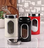 Dynore Set of 3 color coated side window with click lock canisters