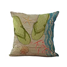 """YJ Bear Lime Green Flip Flop Starfish Print Linen Decorative Throw Cushion with Filler Office Chair Seat Back Cushion Decorative Pillow with Insert 18"""" X 18"""""""