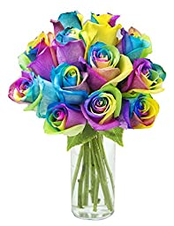 Bouquet of Fresh Cut Rainbow Roses: 12 Rainbow-Swirl Roses with Vase - by KaBloom