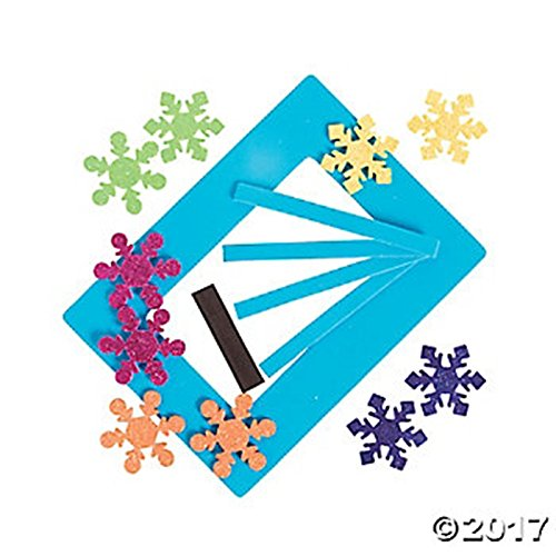 MAKES 12 happy deals Bright Snowflake Picture Frame Magnet Craft Kit