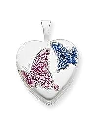 Sterling Silver Pink and Blue Enameled Butterflies 18mm Heart Locket Pendant