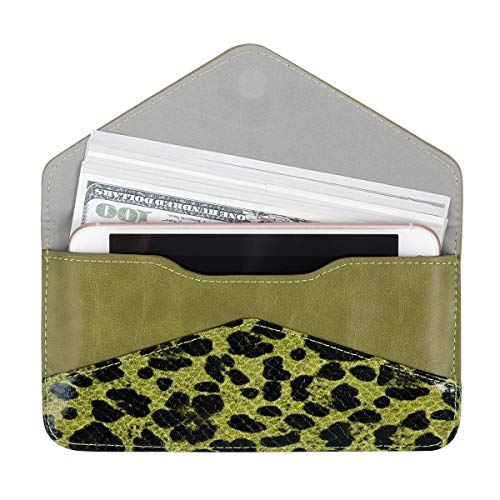 Women's Card Wallet Envelope Style Credit Card Holder Cute Cash Wallet for Ladies (Leopard+Grass Green)