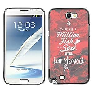 Sirena Roja Dating motivación Amor- Metal de aluminio y de plástico duro Caja del teléfono - Negro - Samsung Note 2 N7100
