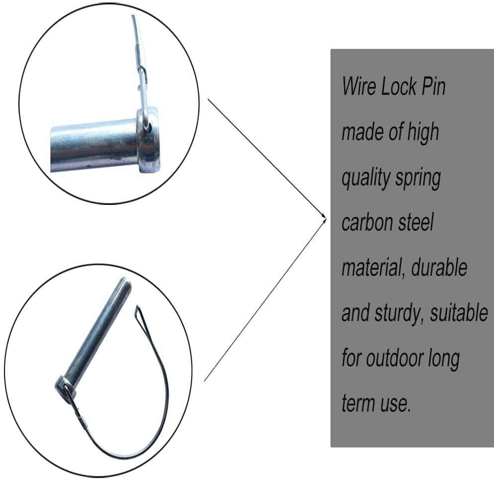 Hitch Loop Wire Lock Pin for Farm Trailers Wagons Lawn Garden Hitch Loop Wire Lock Pin Trailer Pin Round Safety Coupler Shaft Locking Pin 10 Pcs Wire Lock Pin