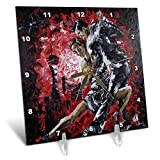 3dRose Art by Mandy Joy - Dancers - A Modern Impressionist Painting of a Couple Ballroom Dancing. - 6x6 Desk Clock (dc_291489_1)