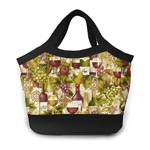 Vineyard Collection Wine Bottles Merlot Lunch Bag For Women Insulated Lunch Tote Bag Durable Lunch Bag Lunch ()