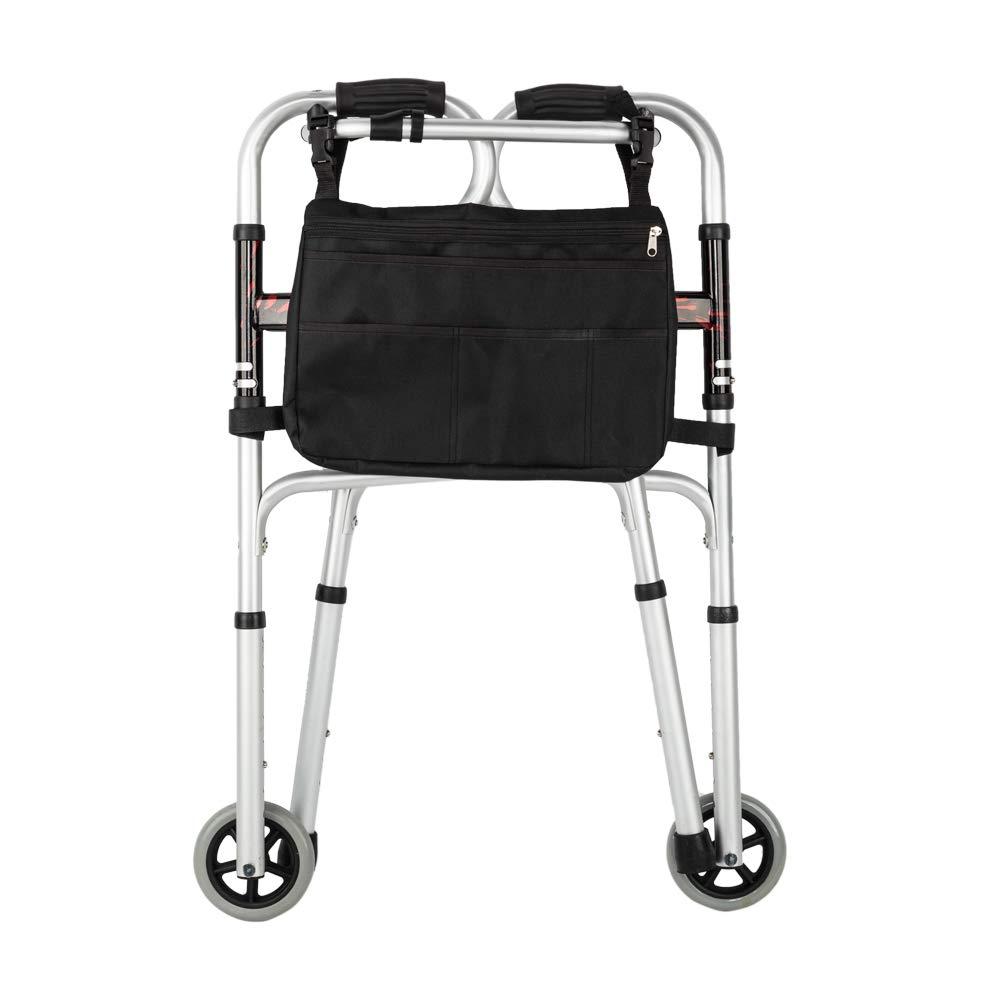 MallMall Aluminum Alloy & Steel Folding Walker Mobility Aid Walkers Adjustable Height Walker Aids Lightweight Walkers for Seniors (Pattern Wheels Walker & Bag) by MallMall