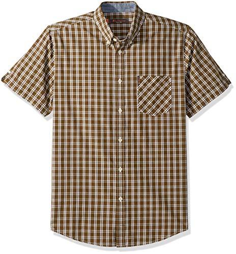 Ben Sherman Men's Mini Check Shirt, Olive, XXL Large