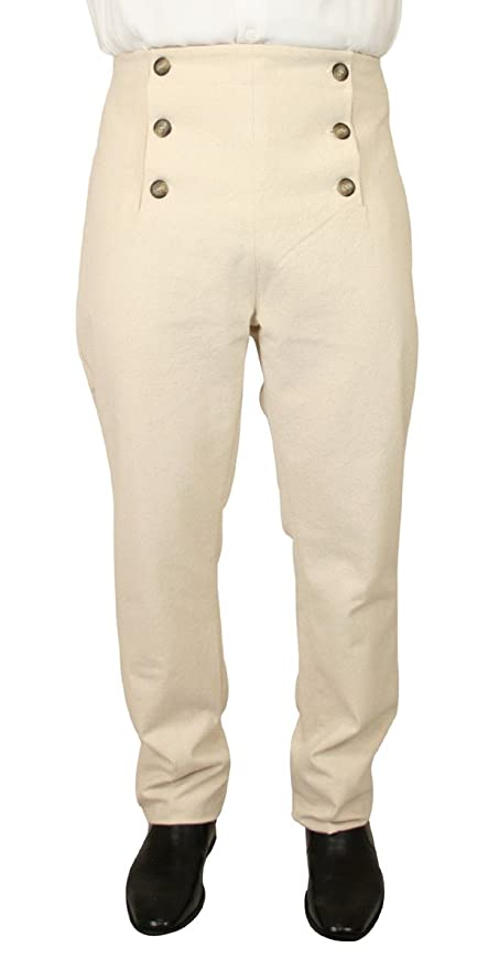 Victorian Men's Clothing Mens High Waist Cotton Regency Fall Front Trousers $69.95 AT vintagedancer.com