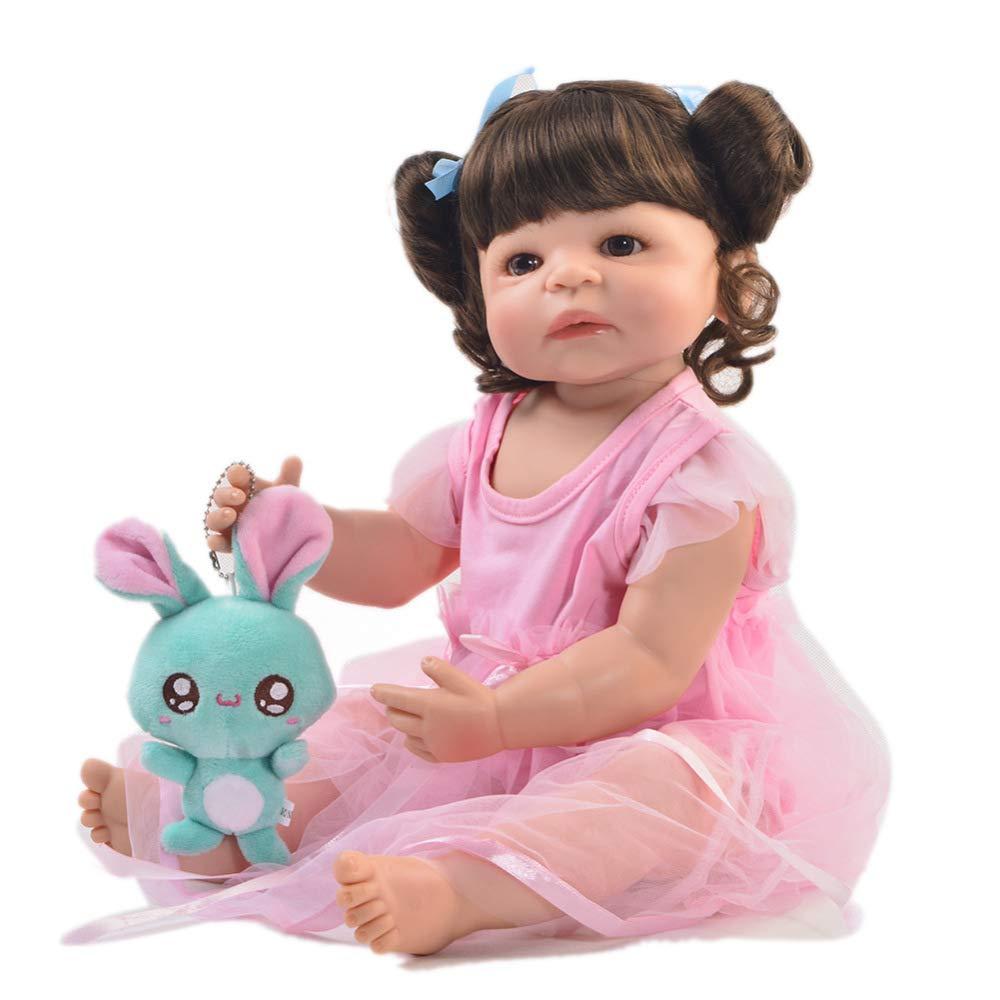 Realistische Babypuppe Ganzkörper Silikon Baby Puppe Handgemachte Lebensechte Weiche BabyPuppe Mädchen 21 Zoll 55cm