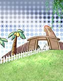 A.Monamour Kids Photo Backgrounds Green Grass Land Coconut Trees Studio Props Photography Backdrops