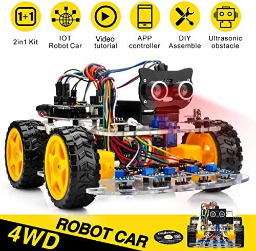 OSOYOO Robot Car Starter Kit for Arduino UNO   STEM Remote Controlled App Educational Motorized Robotics for Building Programming Learning How to Code   IOT Mechanical DIY Coding for Kids Teens Adults